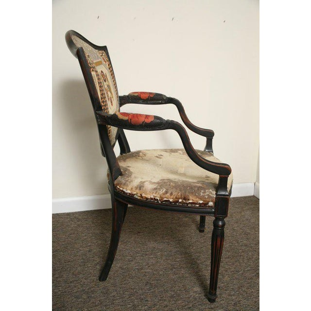 Red Pair of Neoclassical Elegant Wooden Armchairs For Sale - Image 8 of 10