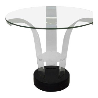 Lucite With Glass Top Art Deco Side Table