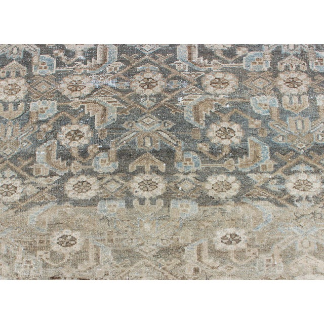 Mid 20th Century Earthy Tone Vintage Persian Hamadan Rug With All-Over Pattern For Sale - Image 5 of 12