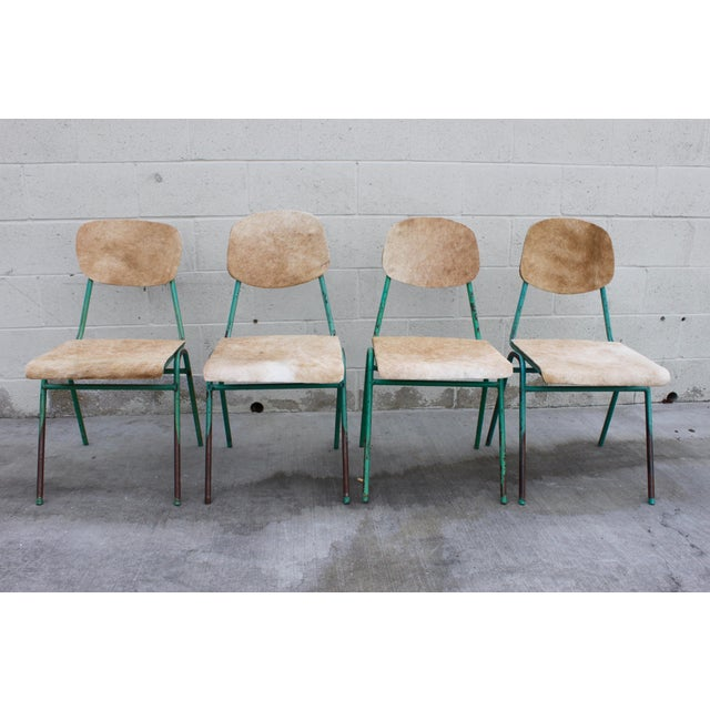 Cottage Vintage French Stacking Steel, Bentwood and Leather Schoolhouse Dining Chairs - Set of 4 For Sale - Image 3 of 11