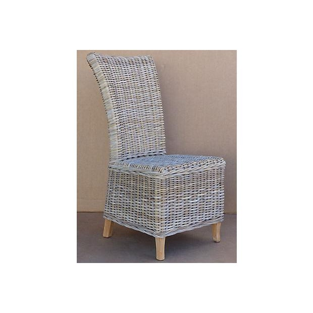 Rattan Wicker High Back Dining Chairs - Set of 6 For Sale - Image 7 of 11