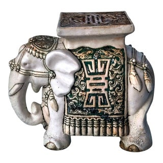 1970s Ceramic Ivory Toned Figural Elephant Garden Stool, Side Table or Plant Stand For Sale