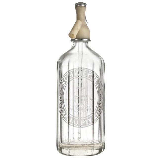 Vintage Schweppes Clear Glass Seltzer Bottle For Sale