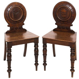 Pair of English Hall Side Chairs For Sale