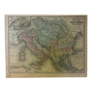 """Antique Mitchell's New School Atlas Map, """"Austro-Hungary - Italy - Turkey and Greece"""" by e.h. Butler & Co. Pub - 1865 For Sale"""