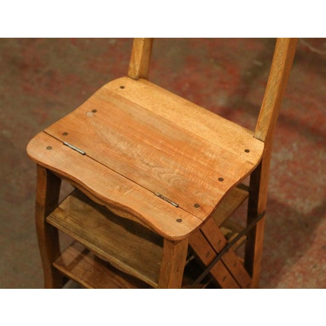 French Early 20th Century French Carved Beech Folding Ladder Chair From Provence For Sale - Image 3 of 7