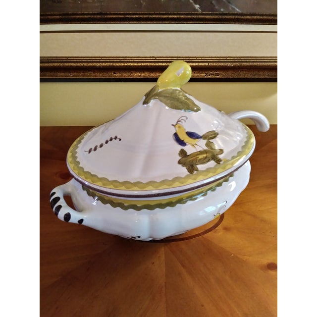 Vintage Cantagalli Firenze Faience Italian Majolica Bird of Paradise and Lemon Soup Tureen For Sale In Columbus - Image 6 of 12
