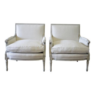 1940s Louis XVI Painted and Upholstered Bergere Chairs - a Pair