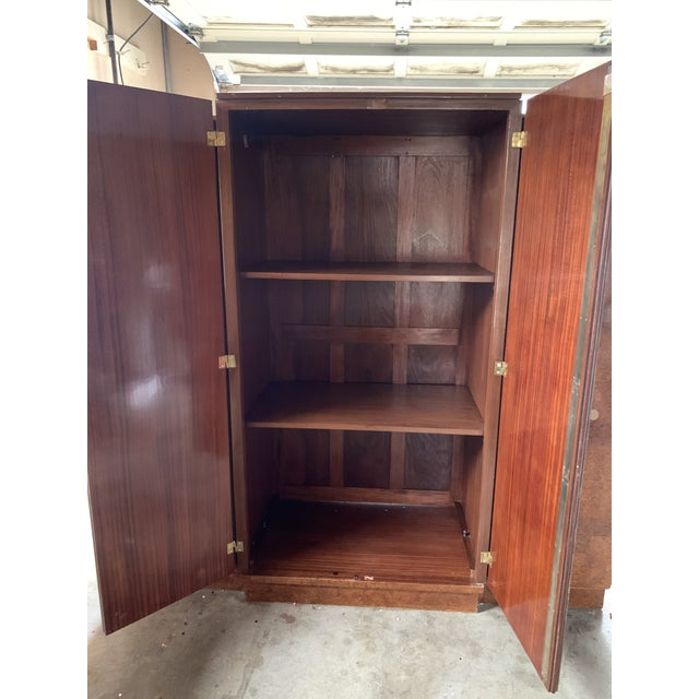 1930s Art Deco Burlwood Armoire For Sale - Image 4 of 9