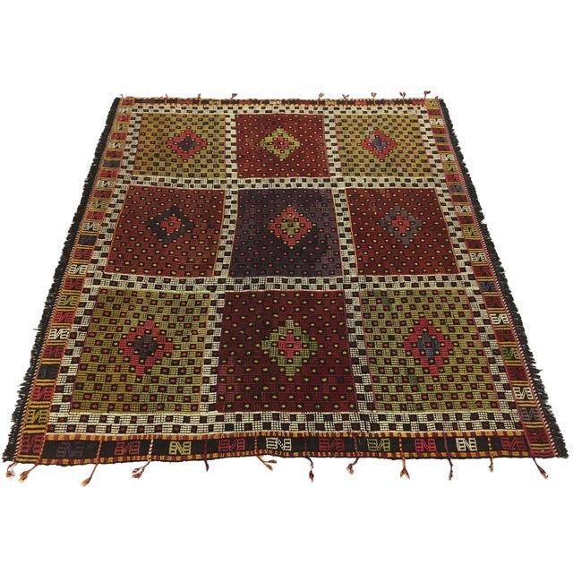 Vintage Turkish Embroidered Kilim | 5'5 X 5'7 For Sale