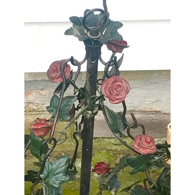 Vintage Tole Rose & Ivy Six Arm Chandelier For Sale - Image 4 of 11