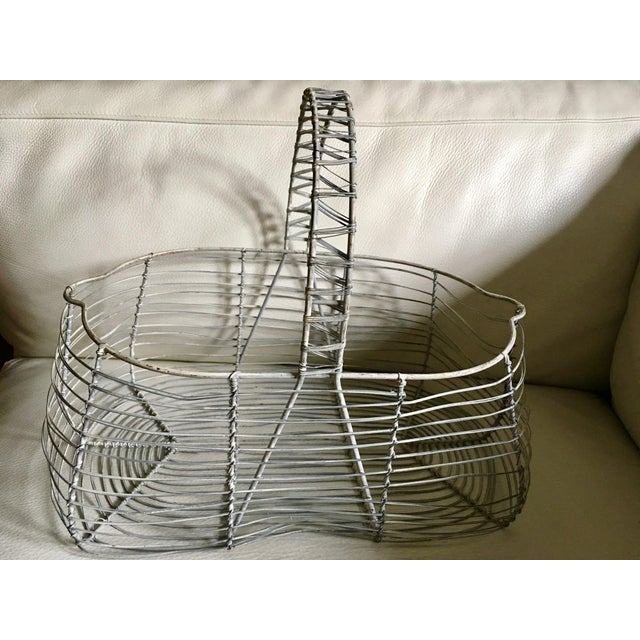 Cottage Antique French Wire Basket For Sale - Image 3 of 7