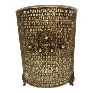 Vintage Art Deco Gold Pearl Filigree Wastebasket Footed For Sale