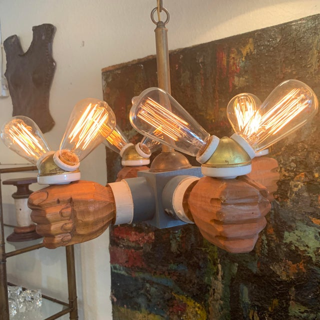 Antique Wooden Hands Chandelier For Sale In Seattle - Image 6 of 10