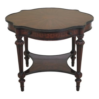 Traditional Theodore Alexander Inlaid Scalloped Top Center Table For Sale