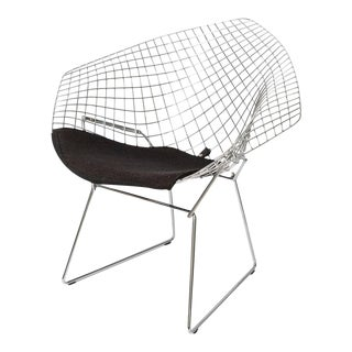 "Bertoria ""Diamond Chair"" in Polished Chrome With Black Upholstery For Sale"