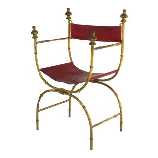 Hollywood Regency Sling X Frame Arm Chair with Wood Gilt Finials For Sale