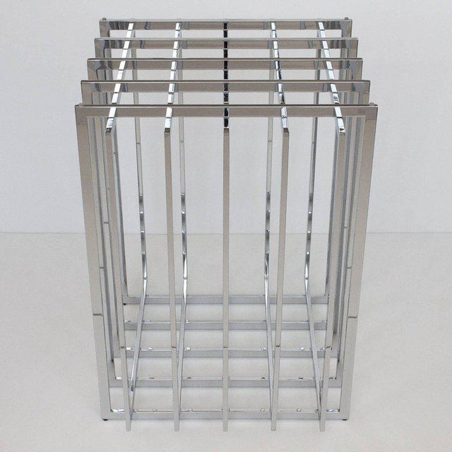 Pierre Cardin Chrome Cage Form Pedestal Dining Table For Sale In Chicago - Image 6 of 11