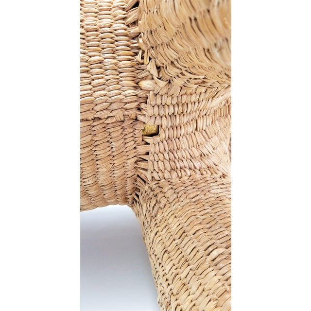 Mario Lopez Torres Elephant Bench - Signed 1974 -- Palm Beach Boho Chic Mid Century Modern Wicker Seagrass Animal For Sale - Image 11 of 13