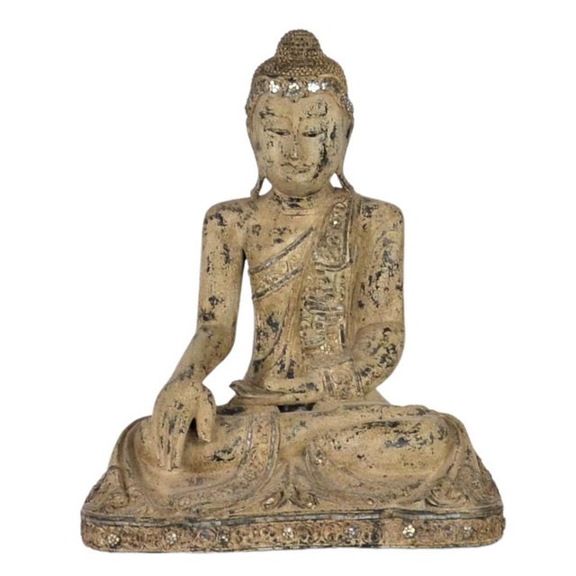 1980s Vintage Thai Wooden Buddha In Wood For Sale - Image 5 of 5