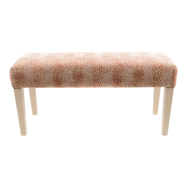 Wooden Bench Upholstered in Fabric For Sale