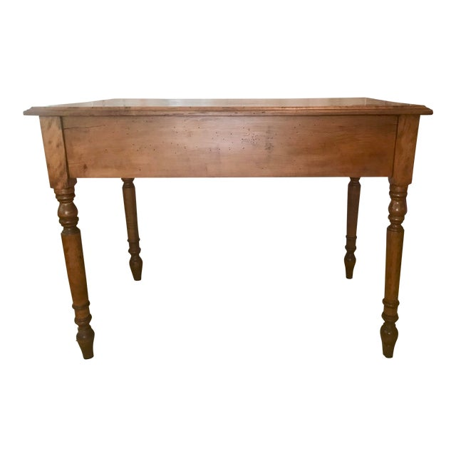 Antique Handmade Worm Wood Table For Sale