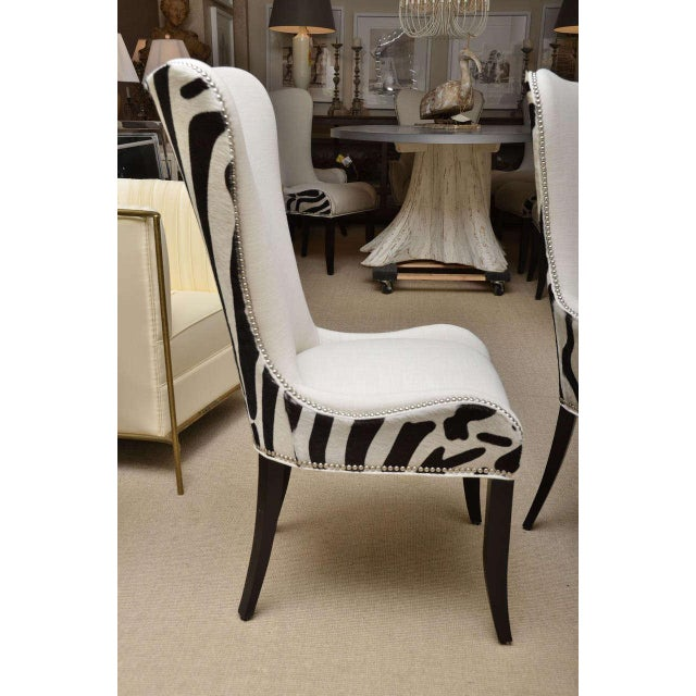 High-End Set of Eight Zebra Stenciled Cowhide Dining Chairs   DECASO