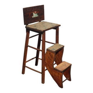 Vintage French Country Brown Rustic Farmhouse Bar Stool ~ 3 Step Stool For Sale