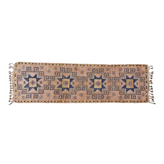 """1950s Boho Chic Peach and Taupe Wool Kurdish Runner - 3'8""""x12'2"""" For Sale"""