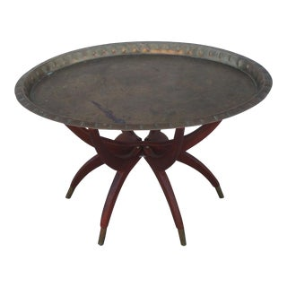 Oval Moroccan Teak & Brass Spider Leg Tray Table
