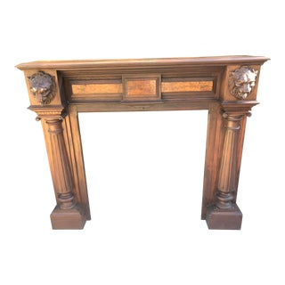 Antique Architectural Fireplace Mantel With Carved Lions For Sale