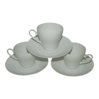 1970s Traditional Rosenthal White China Teacups and Saucers - Set of 3 For Sale
