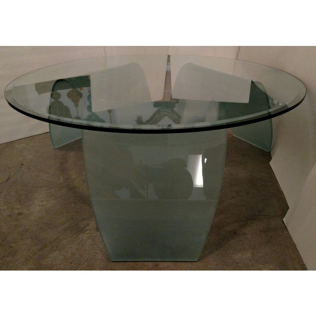 Modern Organic-Shape Frosted Glass Coffee Table For Sale - Image 3 of 5