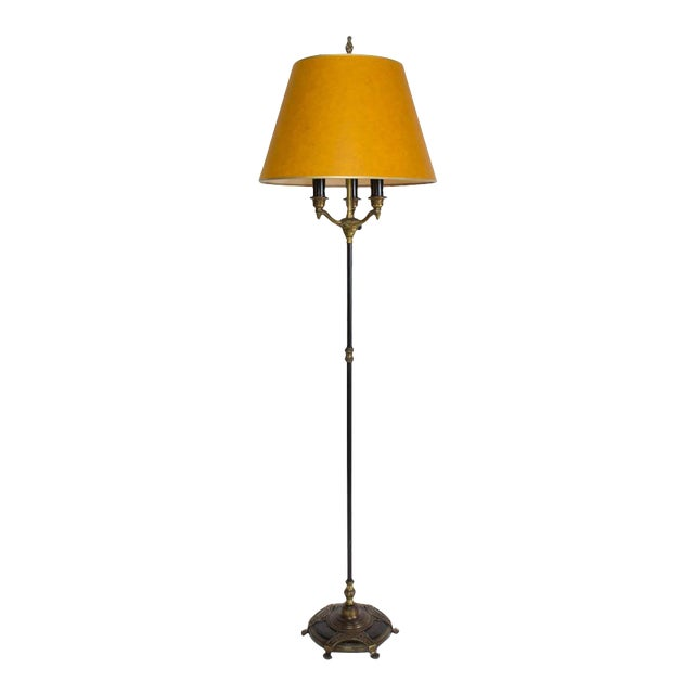 Elegant Restored Vintage Black and Gold Three Light Floor Lamp For Sale