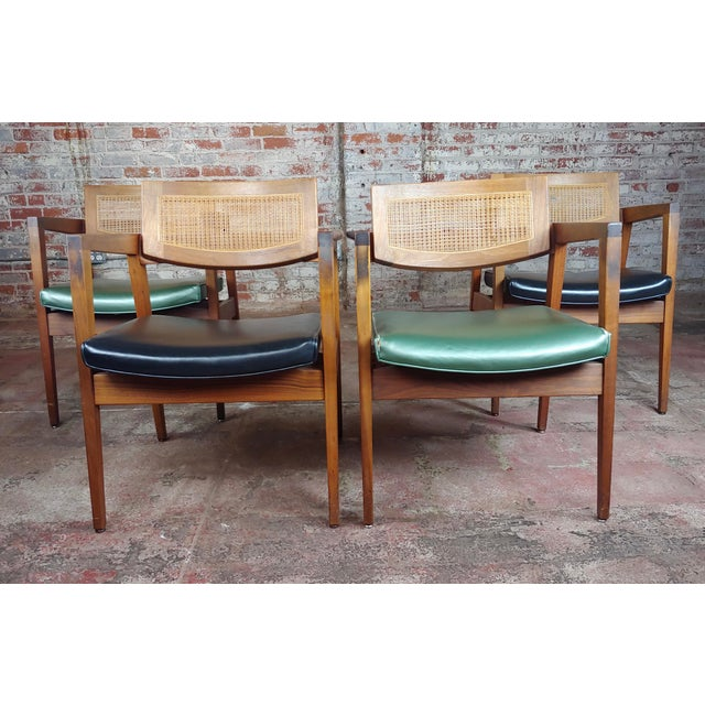 Gunlocke 1960s Mid Century Modern Cane Back Arm Chairs -Set of 4 For Sale - Image 11 of 11