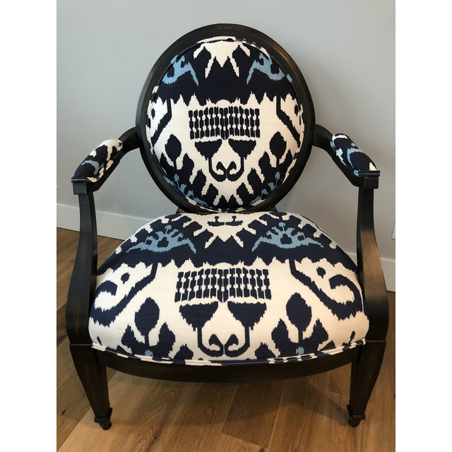 Highland House Kazak by China Seas Fabric and Leather Upholstered Medallion Back Lounge Chair For Sale In South Bend - Image 6 of 13