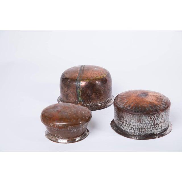 Folk Art Trio of Indian Hand Wrought Copper Vessels - Set of 3 For Sale - Image 3 of 5