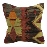 Image of Vintage Turkish Boho Decor Hand Woven Kilim Pillow For Sale