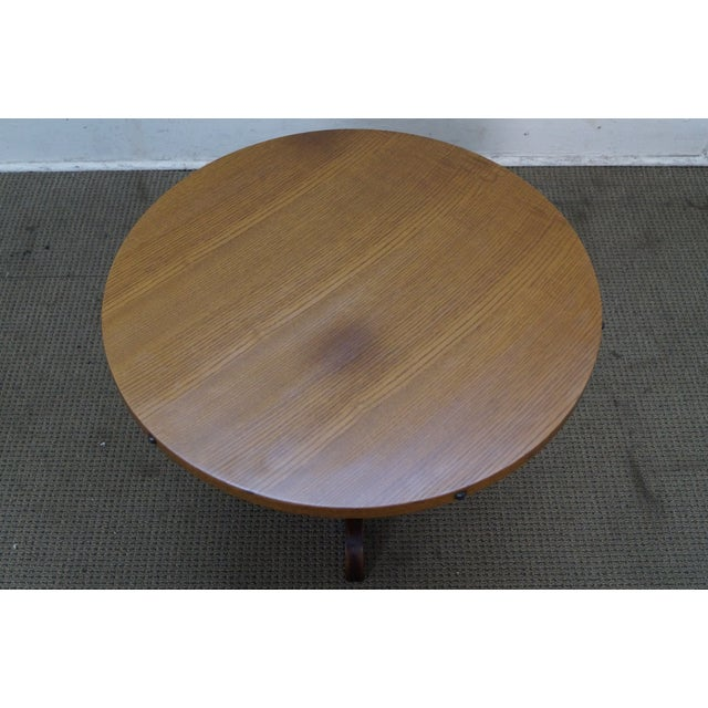 Vintage Oak Round Barrel Base Coffee Table For Sale In Philadelphia - Image 6 of 10