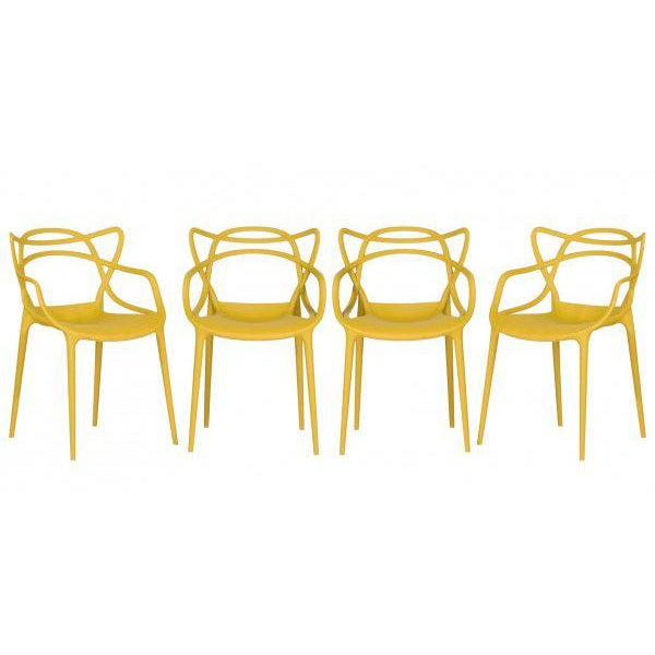 Yellow Kartell Mustard Yellow Masters Chairs - Set of 4 For Sale - Image 8 of 9