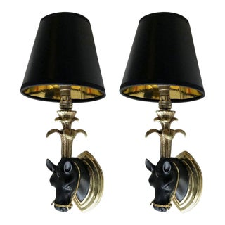 French Mid-Century Modern Black & Gold Bronze Horse Sconces, Wall Lights - Pair For Sale