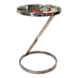1970s Milo Baughman for d.i.a. Chrome & Glass Side Table For Sale