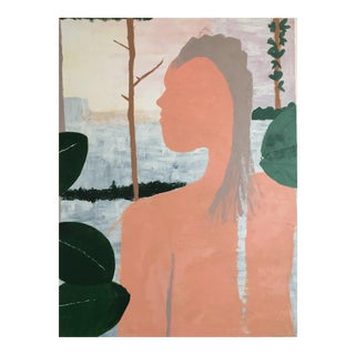 Large Canvas Oil Painting of Figure in Nature With Green and Pinks For Sale