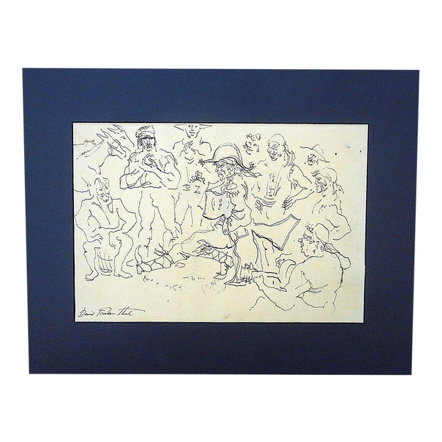 Original Vintage Mid 20th Century Signed Drawing-D. Fredenthal-Listed American Artist For Sale