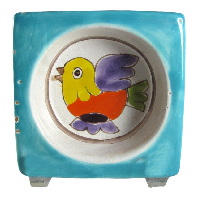 1960s DeSimone Hand Painted Bird Wine Bottle Coaster For Sale