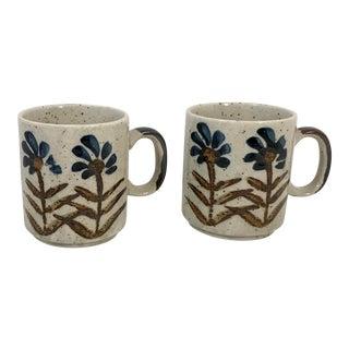 Vintage Mid-Century Ceramic Flower Design Coffee Mugs - a Pair For Sale