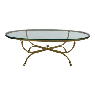 1970s Neoclassical Labarge Solid Brass Coffee Table For Sale