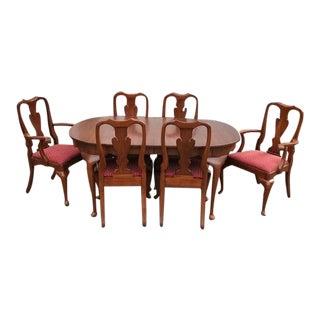 Henkel Harris Virginia Galleries Cherry Queen Anne Dining Set - 7 Pieces For Sale