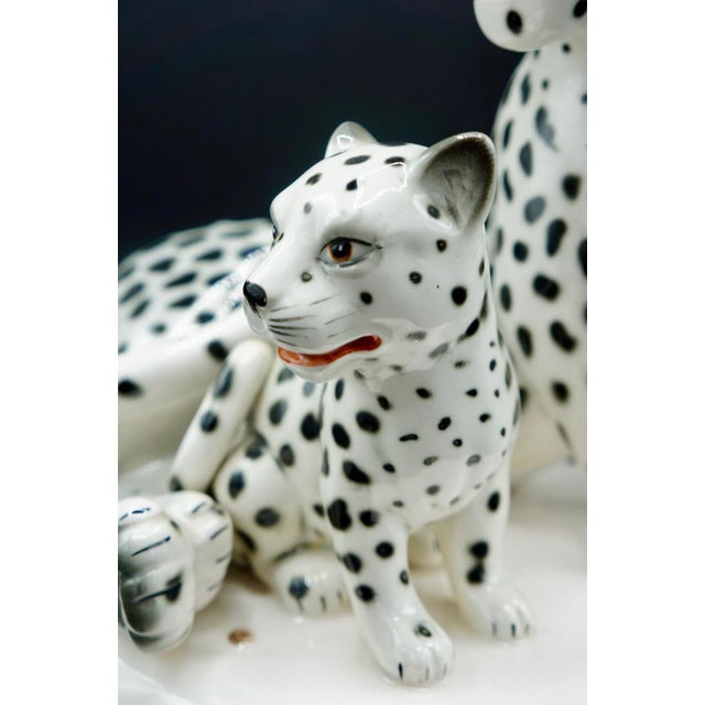 Hollywood Regency Italian Hand-Painted Snow Leopards For Sale - Image 3 of 11