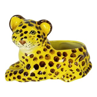 Italian Hand - Painted Tiger Shape Ceramic Planter . For Sale